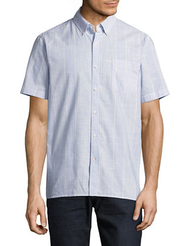 Black Brown 1826 Chambray Short Sleeve Sport Shirt-LIGHT BLUE-X-Large