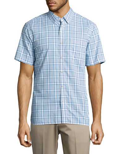 Black Brown 1826 Chambray Short Sleeve Sport Shirt-BLUE-XXX-Large