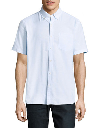 Black Brown 1826 Solid Cotton Sport Shirt-LIGHT BLUE-XXX-Large