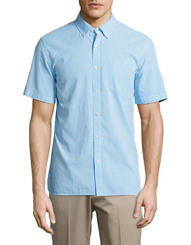 Black Brown 1826 Checkered Sport Shirt-TEAL-XX-Large