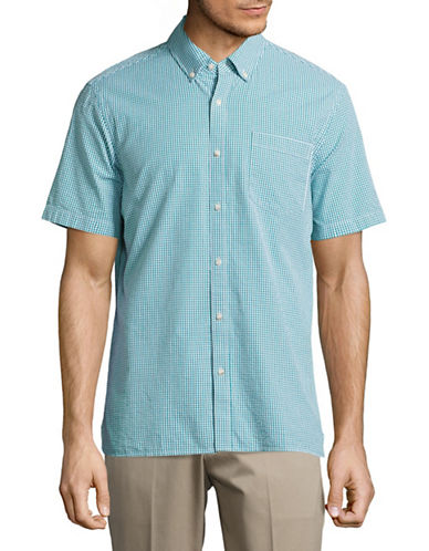 Black Brown 1826 Checkered Sport Shirt-GREEN-X-Large