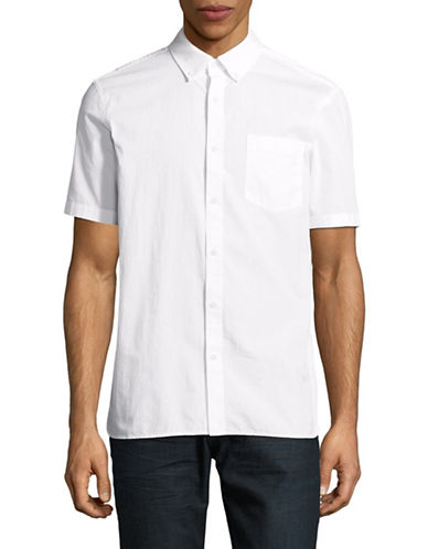 Black Brown 1826 Short Sleeve Seersucker Shirt-WHITE-Small