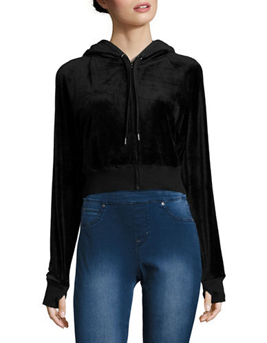 Highline Collective Zip-Up Velour Cropped Hoodie-BLACK-X-Large 88790242_BLACK_X-Large
