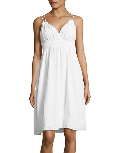 Lord & Taylor Embroidered Cotton Chemise-WHITE-Small 88925123_WHITE_Small
