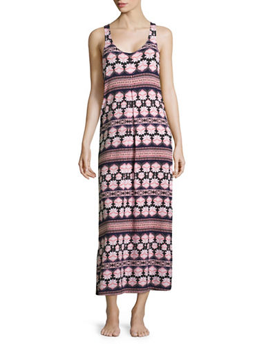 Lord & Taylor Sleeveless Stretch Maxi Dress-PINK-X-Large 88991872_PINK_X-Large
