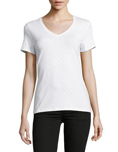 Lord & Taylor Plus V-Neck Dot-Print Cotton-Blend Tee-WHITE MULTI-2X
