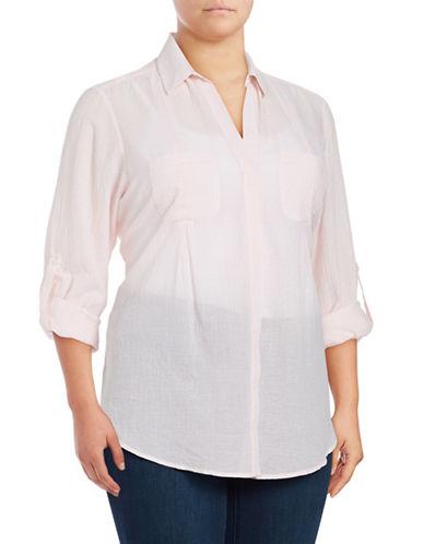 Lord & Taylor Plus Plus Nancy Shirt-ROSE-0X