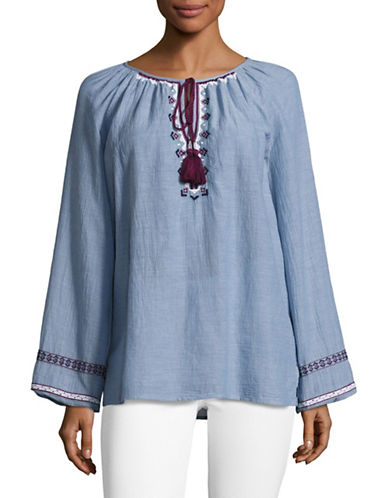 Lord & Taylor Giuliette Embroidered Chambray Top-BLUE-X-Small 88948819_BLUE_X-Small