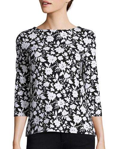 Imnyc Isaac Mizrahi Floral Three-Quarter Sleeve Top-BLACK-Medium 88845245_BLACK_Medium