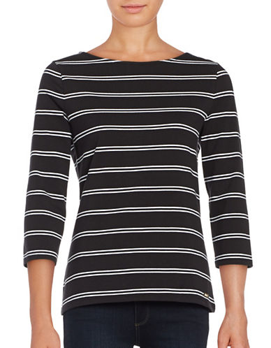 Imnyc Isaac Mizrahi Double Stripe Three Quarter Sleeve Boat Neck Top-BLACK-X-Small 88845266_BLACK_X-Small