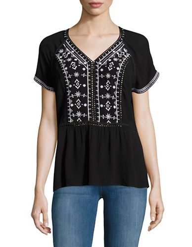 Lord & Taylor Embroidered Peplum Top-BLACK-X-Large 89136467_BLACK_X-Large