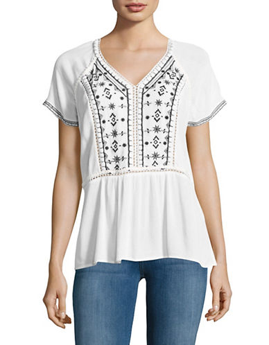 Lord & Taylor Embroidered Peplum Top-WHITE-X-Large