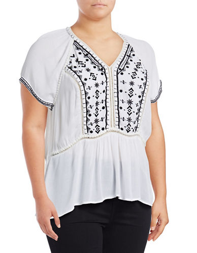 Lord & Taylor Plus Embroidered Ruffle-Hem Top-WHITE-1X