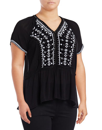 Lord & Taylor Plus Embroidered Ruffle-Hem Top-BLACK-1X