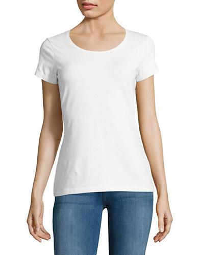 Lord & Taylor Organic Cotton Scoop neck Tee-WHITE-Small 88969962_WHITE_Small