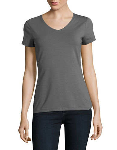 Lord & Taylor Organic V-Neck Tee-GREY-X-Small
