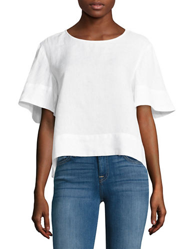 Lord & Taylor Linen Flutter Sleeve Tee-WHITE-X-Small 88926320_WHITE_X-Small