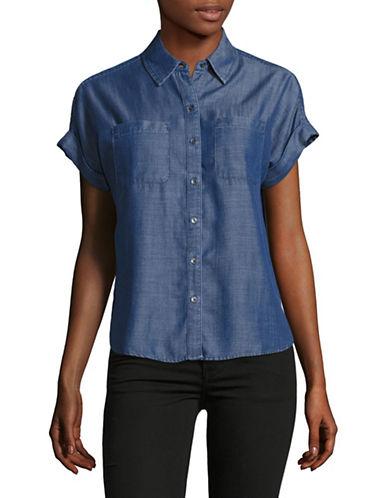 Lord & Taylor Petite Addy Indigo Tencel Shirt-MEDIUM INDIGO-Petite X-Small