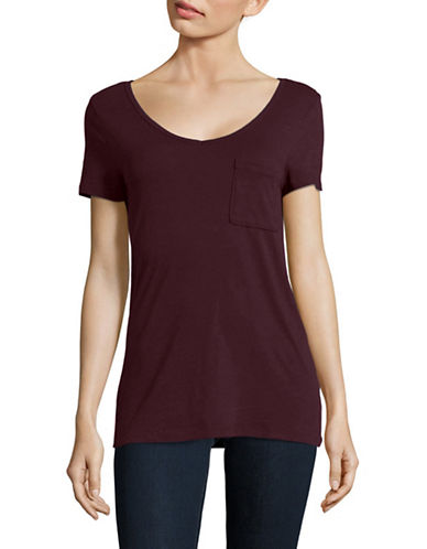 Lord & Taylor Petite V-Neck One-Pocket Slub T-Shirt-MULBERRY-Petite Large