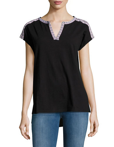 Lord & Taylor Embellished Tunic Tee-BLACK-Small