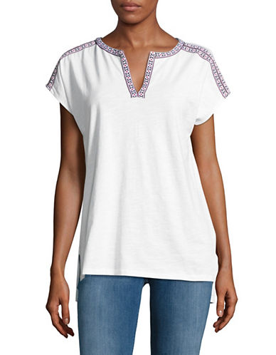 Lord & Taylor Plus Embellished Tunic Tee-WHITE-1X