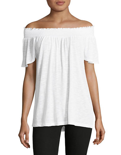 Lord & Taylor Smocked Top-WHITE-Small 88946650_WHITE_Small