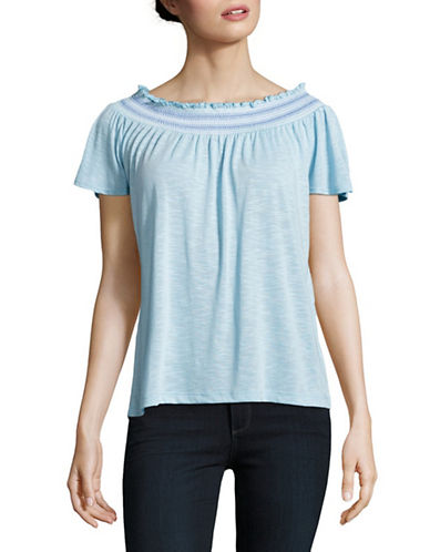 Lord & Taylor Petite Smocked Top-MORNING SKY-Petite X-Large