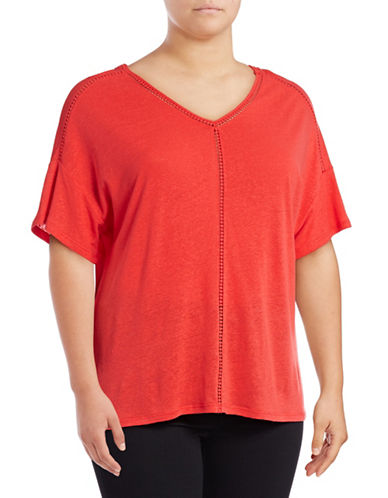 Lord & Taylor Plus Double V-Neck Linen-Blend Tee-POPPY RED-1X