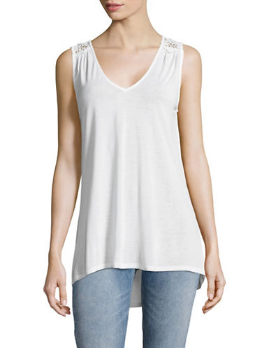 Lord & Taylor Crochet V-Neck Tank Top-WHITE-X-Small 89027730_WHITE_X-Small