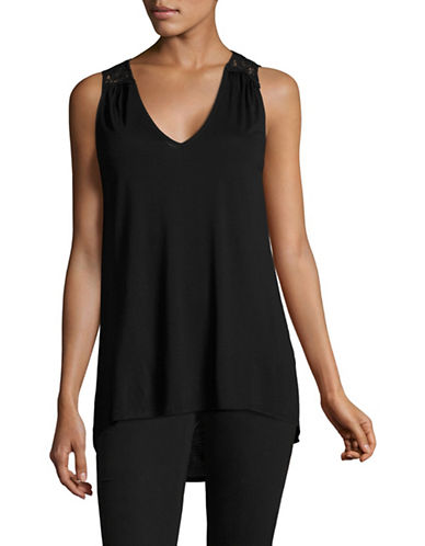 Lord & Taylor Crochet V-Neck Tank Top-BLACK-Small