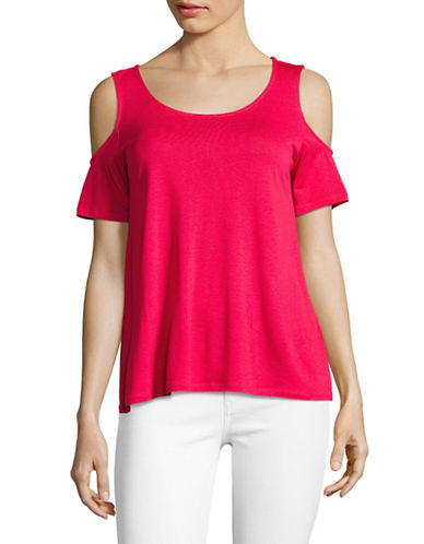 Lord & Taylor Petite Cold-Shoulder Tee-HOT PINK-Petite Large
