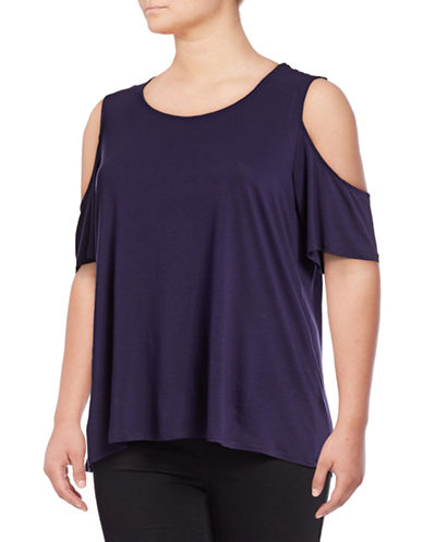 Lord & Taylor Plus Cold-Shoulder Tee-EVENING BLUE-2X