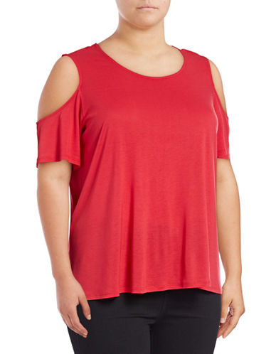 Lord & Taylor Plus Cold-Shoulder Tee-HOT PINK-3X