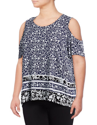 Lord & Taylor Plus Printed Cold-Shoulder Top-EVENING BLUE-2X