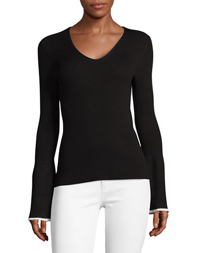 Lord & Taylor V-Neck Ribbed Long-Sleeve Top-BLACK-Medium