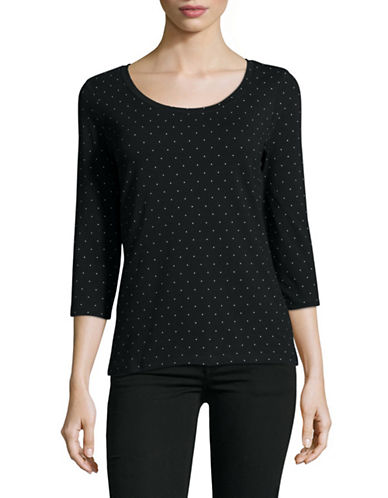 Lord & Taylor Mini Dot Scoop Neck Top-BLACK-X-Small