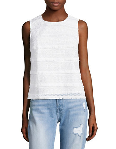 Lord & Taylor Lace Overlay Shell Top-WHITE-X-Small
