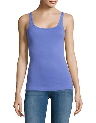 Lord & Taylor Cotton Ribbed Tank Top-BLUE-Large