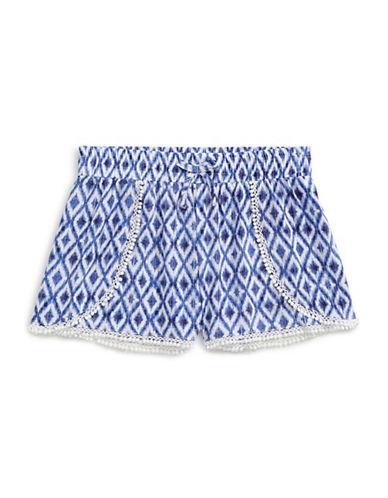 Manguun Printed Crochet-Trim Shorts-BLUE-X-Large 88982268_BLUE_X-Large