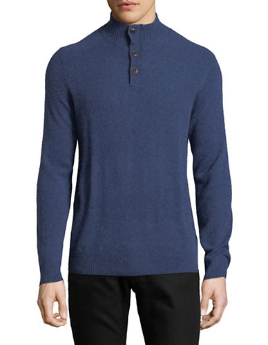 Black Brown 1826 Heathered Cashmere Sweater-BLUE-XXX-Large