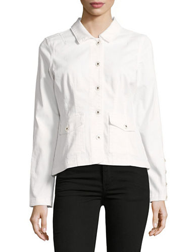 Imnyc Isaac Mizrahi Tailored Denim Jacket-WHITE-X-Large 88883145_WHITE_X-Large