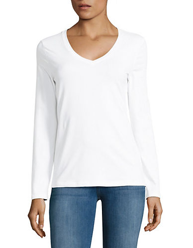 Lord & Taylor Long Sleeve V-Neck Cotton T-Shirt-WHITE-Small
