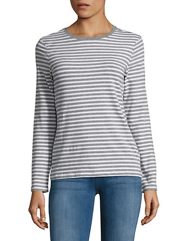 Lord & Taylor Striped Cotton-Blend Tee-HEATHER GREY-Medium