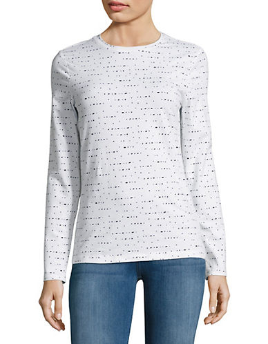 Lord & Taylor Printed Crewneck Tee-WHITE-Small