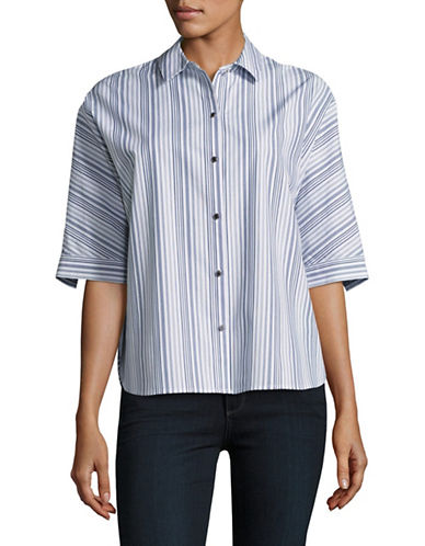 Imnyc Isaac Mizrahi Mainline Striped Button-Up Shirt-BLUE-Large