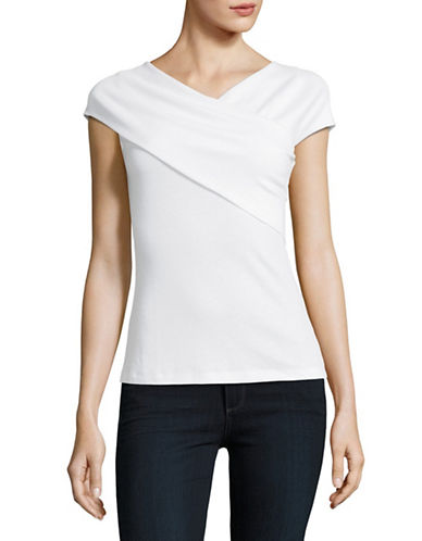 Lord & Taylor Mock-Wrap Knit Top-CLOUD WHITE-Large