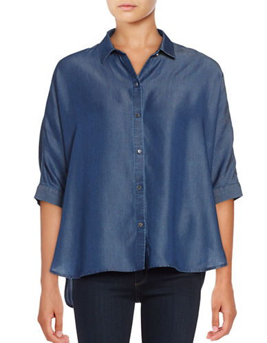 Imnyc Isaac Mizrahi Dark Wash Tencel Dolman Sleeve Shirt-BLUE-X-Small