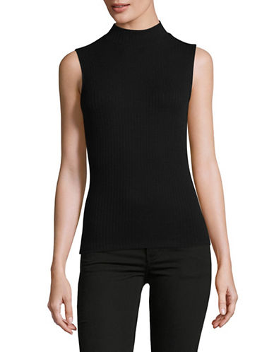 Lord & Taylor Ribbed Mock Neck Sleeveless Top-BLACK-Large