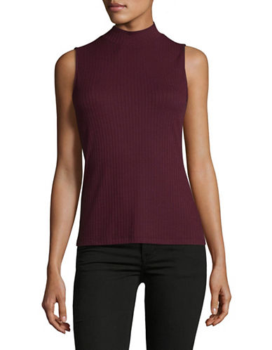 Lord & Taylor Ribbed Mock Neck Sleeveless Top-BEGONIA-Large
