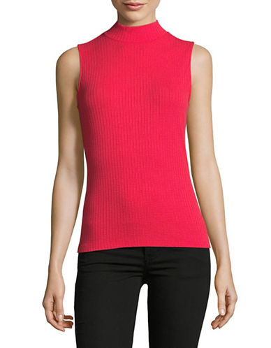 Lord & Taylor Ribbed Mock Neck Sleeveless Top-LIPSTICK-X-Large